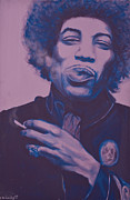 Rock Portraits Mixed Media Originals - Jimi by Derek Donnelly