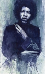 Rock Music Paintings - Jimi Hendrix 01 by Yuriy  Shevchuk