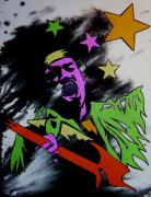 Jimi Hendrix Drawings - Jimi Hendrix Acid Splash by Sam Hane