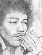 Icon Pastels Prints - Jimi Hendrix Artwork Print by Roly D Orihuela