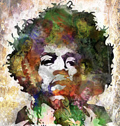 Purple Digital Art Metal Prints - Jimi Hendrix Metal Print by Bobby Zeik