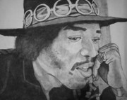Black Ring Drawings - Jimi Hendrix by Christian Fralick