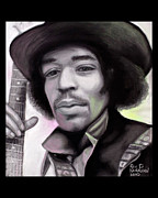Roll Pastels Framed Prints - Jimi Hendrix Framed Print by Dennis Jones