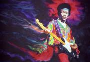 Guitarists Paintings - Jimi Hendrix Dissolve by Ken Meyer jr