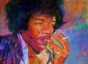 Guitar Hero Metal Prints - Jimi Hendrix Dreaming Metal Print by David Lloyd Glover