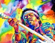 Featured Artist Metal Prints - Jimi Hendrix Electric Metal Print by David Lloyd Glover