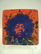 Musicians Ceramics - Jimi Hendrix Hand Made Ceramic Tile by Chris Mackie