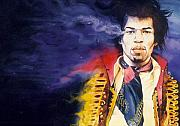 Rock And Roll Paintings - Jimi Hendrix by Ken Meyer jr
