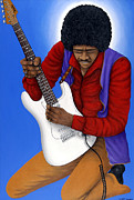 Kneeling Prints - Jimi Hendrix  Print by Larry Smart