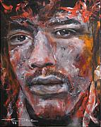 Celebrity Portraits Framed Prints - Jimi Hendrix Manic Depression Framed Print by Eric Dee