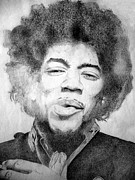 Rock And Roll Mixed Media Originals - Jimi Hendrix - Medium by Robert Lance