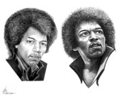 (murphy Elliott) Drawings - Jimi Hendrix by Murphy Elliott
