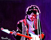 Haze Painting Prints - Jimi Hendrix Playing Purple Haze Print by Daniela Antar Power