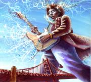 Guitarists Painting Originals - Jimi Hendrix Rainbow Bridge by Ken Meyer jr