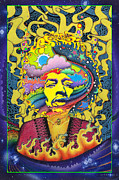 Trippy Painting Metal Prints - Jimi Hendrix Rainbow King Metal Print by Jeff Hopp