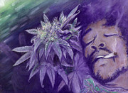 Weed Pastels Metal Prints - Jimi Hendrix Metal Print by Raymond L Warfield jr