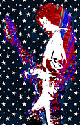 Rock N Roll Digital Art - Jimi Hendrix Red White and Blue by RJ Aguilar