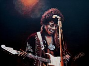 Singer Painting Metal Prints - Jimi Hendrix Metal Print by Shirl Theis