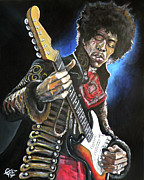 Haze Metal Prints - Jimi Hendrix Metal Print by Tom Carlton