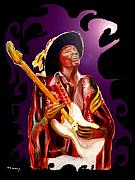 Jimi Hendrix Drawings - Jimi hendrix variations in Purple and Black by Tom Conway