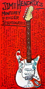 Guitars Paintings - Jimi Hendrixs Monterey Strat by Karl Haglund