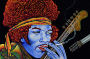 Jimi In Thought Print by Nannette Harris