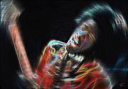 Jimi Hendrix Digital Art Originals - Jimi by Kenneth Johnson