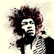 Jimi Hendrix Posters - Jimi Poster by Laurence Adamson