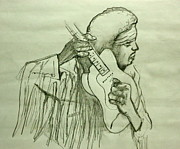 Jimi Hendrix Drawings - Jimi Sketch by Pete Maier