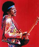 Jimi Hendrix Drawings - Jimi by Steve Jones