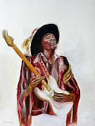 Jimi Hendrix Drawings - Jimi by Tom Conway