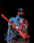 Celebrities Reliefs Metal Prints - Jimi with guitar Metal Print by Mike Aitken