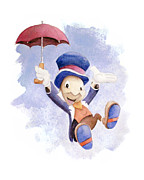 Jiminy Cricket Posters - Jiminy Cricket with Umbrella Poster by Andrew Fling
