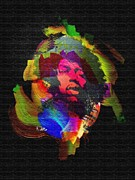 Music Legend Digital Art Framed Prints - Jimmi Hendrix Framed Print by Mo T