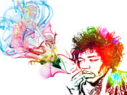 Iconic Guitar Prints - Jimmi Hendrix Print by The DigArtisT