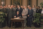 Legislation Prints - Jimmy Carter Signs A Social Security Print by Everett