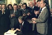 Carter House Photo Posters - Jimmy Carter Signs Airline Deregulation Poster by Everett