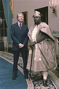 Carter House Photo Posters - Jimmy Carter With Nigerian Ruler Poster by Everett