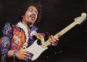 Rock And Roll Art Painting Originals - Jimmy Hendrix by Chris Benice