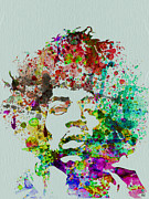 Music Metal Prints - Jimmy Hendrix watercolor Metal Print by Irina  March