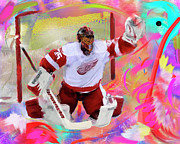 Hockey Painting Prints - Jimmy Howard Print by Donald Pavlica