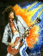 Led Zeppelin Mixed Media Prints - Jimmy Page - The Wizard Print by Ferril Nawir