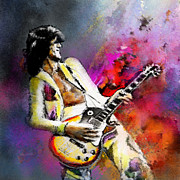 Led Zeppelin Mixed Media Prints - Jimmy Page 02 Print by Miki De Goodaboom