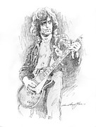 Guitar God Framed Prints - Jimmy Page Burns it Framed Print by David Lloyd Glover