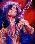 Guitar Hero Metal Prints - Jimmy Page Metal Print by David Lloyd Glover