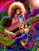 Jimmy Page Posters - Jimmy Page Double Neck Gibson Poster by David Lloyd Glover
