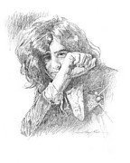 Graphite Portraits Prints - Jimmy Page in Person Print by David Lloyd Glover
