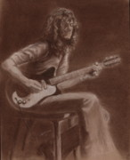 Portrait Pastels Prints - Jimmy Page Print by Kathleen Kelly Thompson