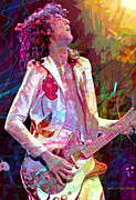 Rock Concert Prints - Jimmy Page Led Zep Print by David Lloyd Glover