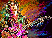 Jimmy Page Prints - Jimmy Page Les Paul Gibson Print by David Lloyd Glover